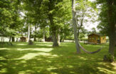 Grass area in front of three Cabins