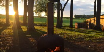 A log burner outdoors