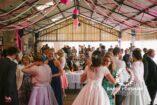 Wedding guests gathering