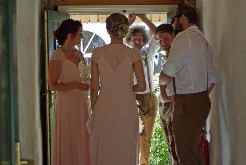 Bridesmaids and Groomsmen gather
