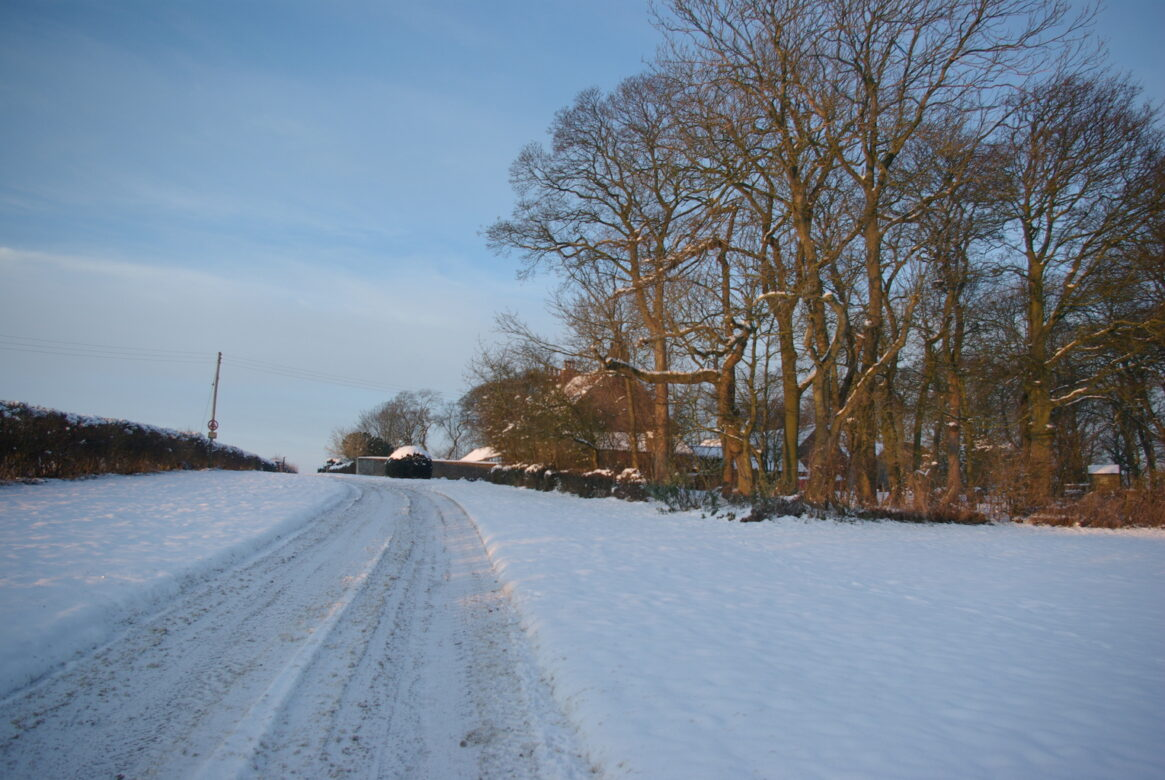 A track covered in snow