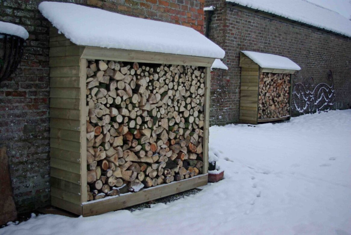 A log store in the snow