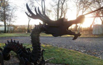 A metal dragon sculpture